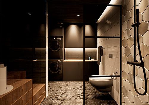 3D-mallinnus omakotitalon kylpyhuone.